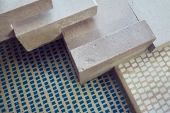 The steps and mosaic floor