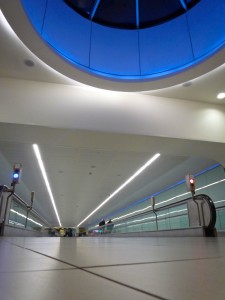 Gatwick Airport: Hallway with Blue Skylight