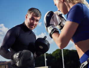 Male and female boxing
